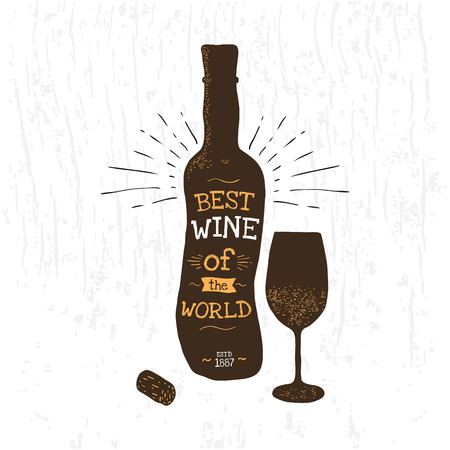 Silhouette of wine bottle, glass, cork. Typography poster for the liquor store. Vector