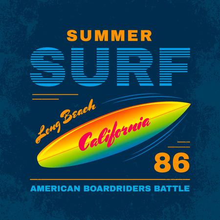 California vector typography poster surf. Print on t-shirt Ilustracja