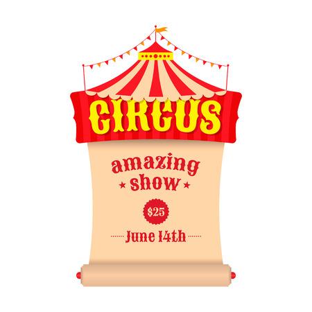 circo: Vector cartel o valla publicitaria para el circo. Carpa con el emblema del circo y un pergamino. Vectores
