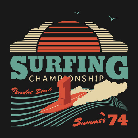 Surfing championship vector illustration, graphics for T-shirts, California surf summer poster