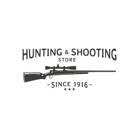 ベクトルのビンテージ ロゴ狩猟とストアを撮影します。ライフルのシルエット。  イラスト・ベクター素材
