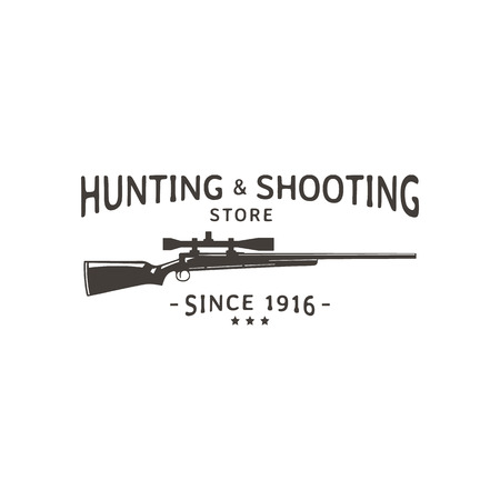 rifle: Vector vintage logo hunting and shooting store. Rifle silhouette.