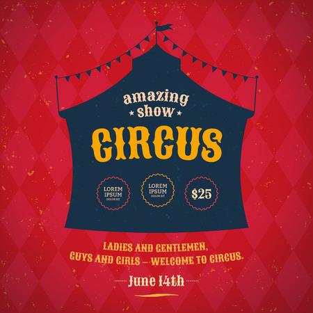 Affiche voor het circus. Silhouet circustent. Vector Stock Illustratie