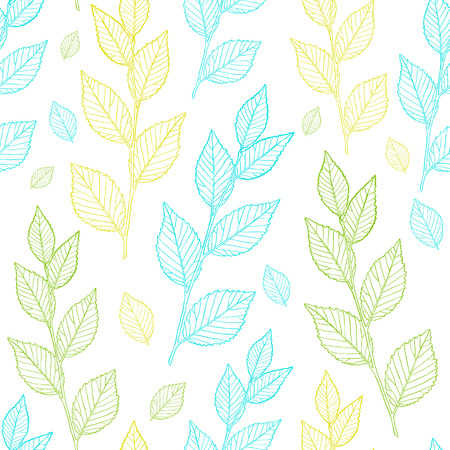 spring leaf: Seamless spring leaf pattern. Line vector leaves.