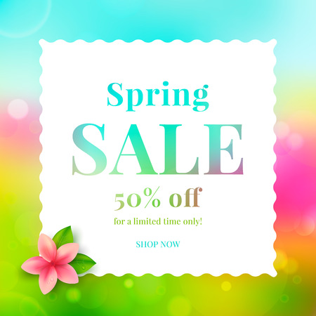 Colorful banner spring sale with flower. Vector illustration. Ilustração