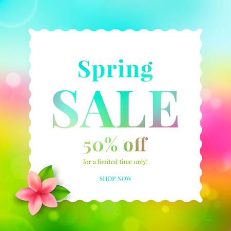 Colorful banner spring sale with flower. Vector illustration. Illustration