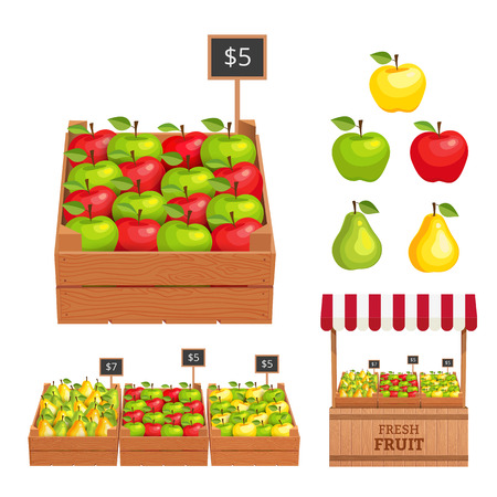 과일을 파는 스탠드. 사과 나무 상자, 배. 벡터 일러스트 레이 션