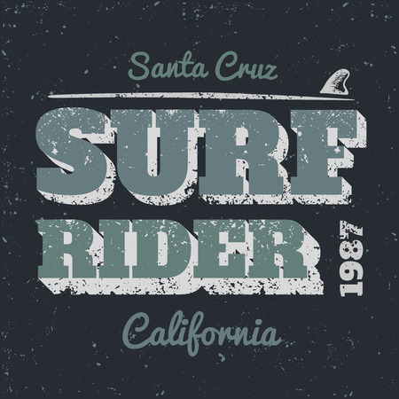 t shirt blue: Surf rider typography vintage style.