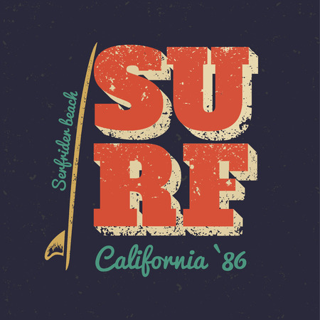 California typography poster surf.