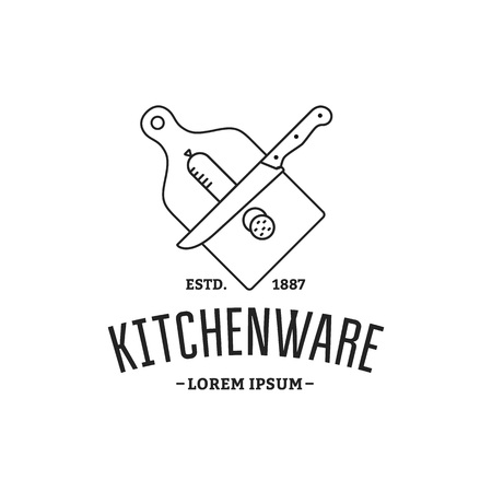 cutting board: Vector logo kitchenware. Silhouette sausage sliced, cutting board, knife.