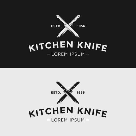 kitchen knife: Cuchillo de cocina de la vendimia. Silueta en blanco y negro.