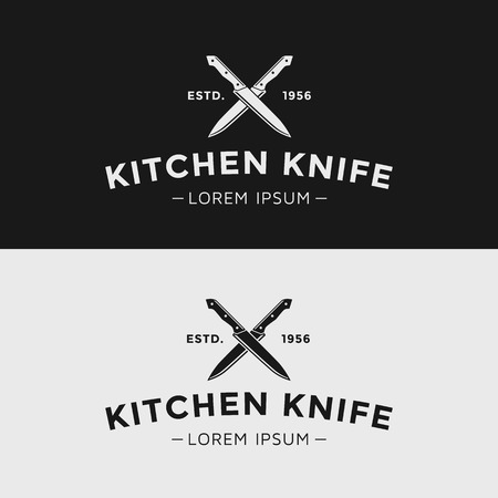 the knife: Cuchillo de cocina de la vendimia. Silueta en blanco y negro.