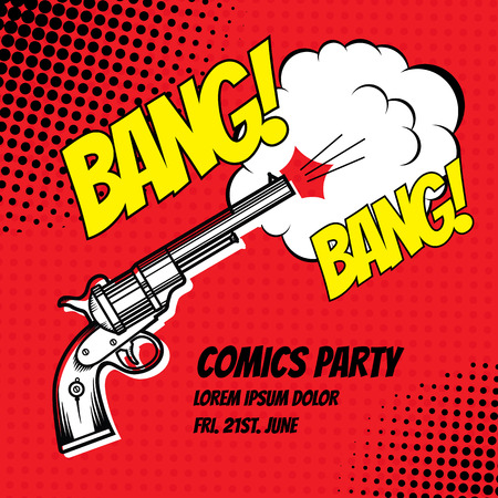 comic strip: BANG. Vector poster comic strip style with halftone effect. Shot from revolver.