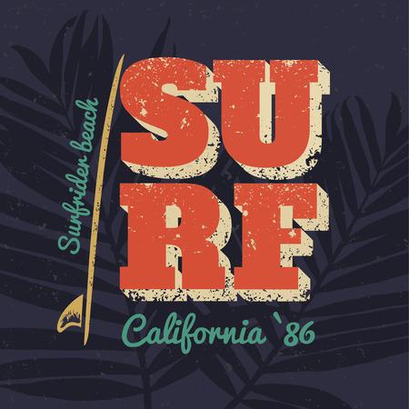 カリフォルニア タイポグラフィ ポスター サーフ。ベクトル プリント t シャツ