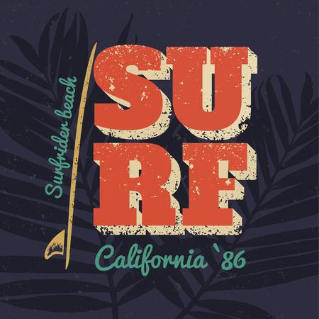 surf vector: California typography poster surf. Vector print on t-shirt