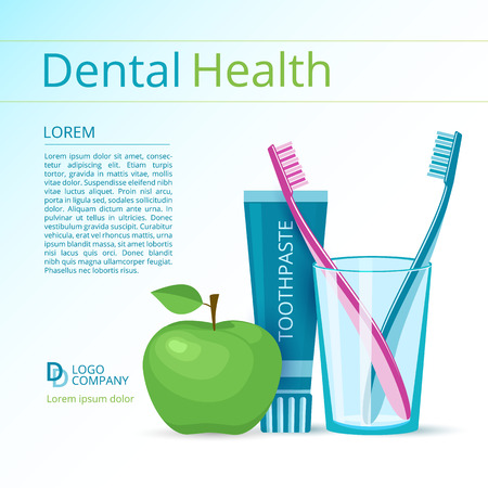 Dental health vector flyer or poster template. Toothbrushes and toothpaste, green apple.