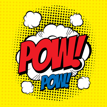 pow: POW. Vector poster comic strip style with halftone effect.