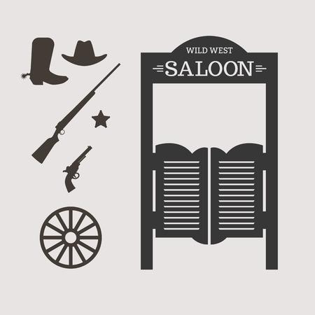 rodeo americano: Iconos occidentales. Silueta de la puerta del salón. Ilustración vectorial