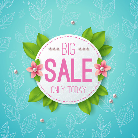 Big sale vector illustration banner. Circle label with leaves, flowers and pearls. Floral pattern. Ilustracja