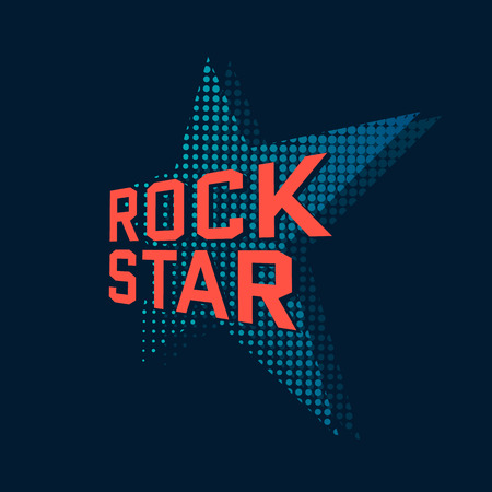 Rock star, music typography. t-shirt design, vector illustration Ilustração