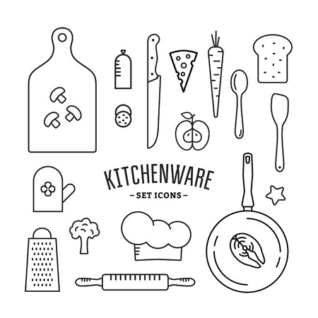 Kitchenware and food icons set. Outline style vector illustration Ilustração
