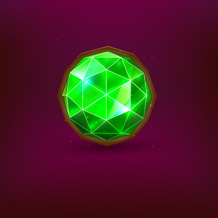Bright green precious gem. Realistic emerald. Vector illustration Vettoriali