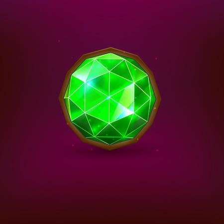 Bright green precious gem. Realistic emerald. Vector illustration Illustration