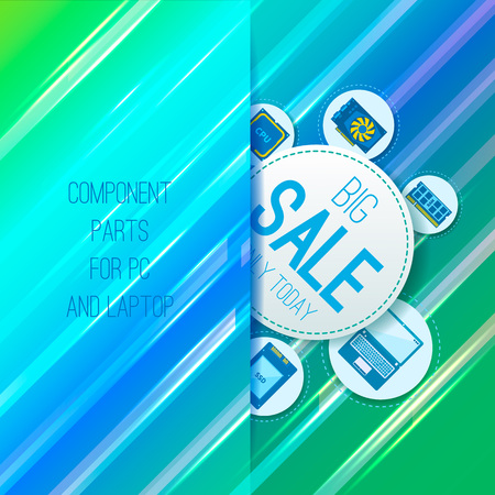 hard component: Sale banner. Component parts for PC and laptop. Straight background. Vector Illustration
