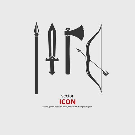 espadas medievales: Iconos medievales de armas, hacha, espada, arco, lanza. Vector silueta. Vectores