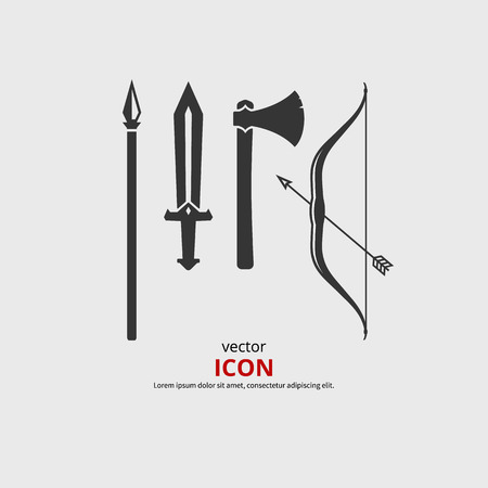 Weapon medieval icons, axe, sword, bow, spear. Vector silhouette. Illustration