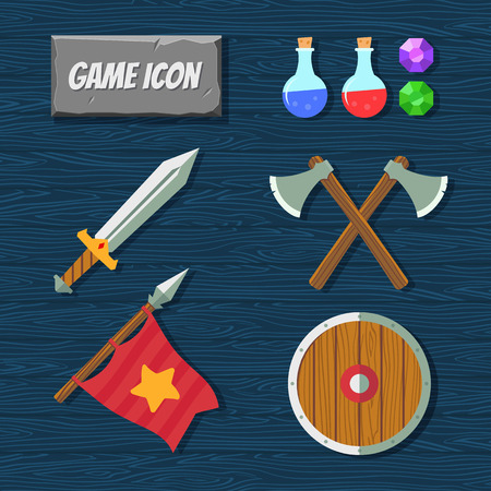 arcanum: Game icons vector. Medieval weapons. RPG icons Illustration