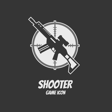 assault: Shooter or action game icon. Rifle assault. Vector illustration Illustration