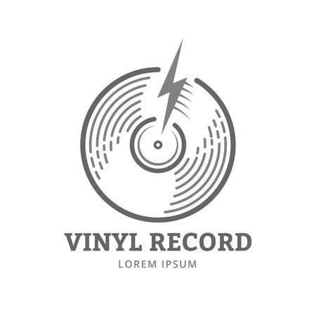 Vinyl record logo template. Vector music icon or emblem. Çizim