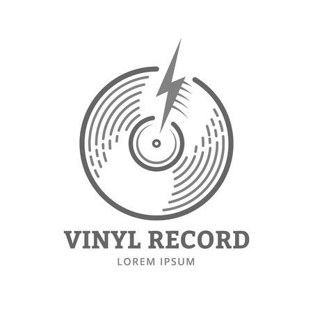 Vinylplaat logo template. Vector muziek pictogram of embleem. Stock Illustratie