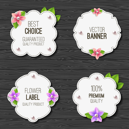 pearl: Set of banners with flowers, pearls and leaves. Spring or summer design. Vector label Illustration