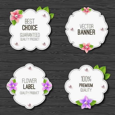 Set van banners met bloemen, parels en bladeren. Lente of zomer ontwerp. Vector label