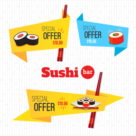 sushi restaurant: Sushi set origami banners special offer on rolls. Logo sushi bar