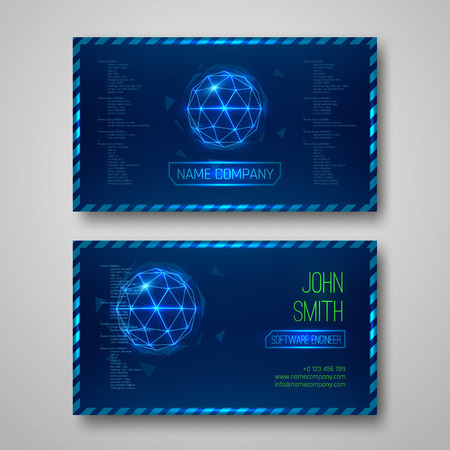 corporate background: Futuristic design business cards. With abstract elements. Vector template