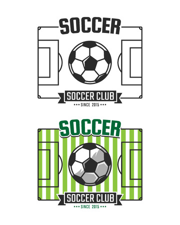 soccer club: Soccer club logo template. Vector sport emblem. Football field