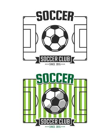 athletic wear: Soccer club logo template. Vector sport emblem. Football field