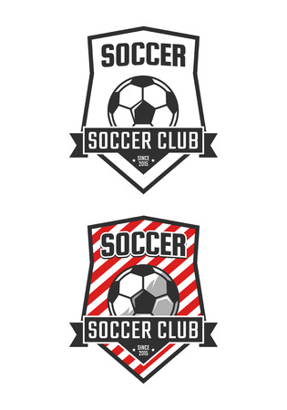 Soccer club logo template. Vector sport emblem Illustration