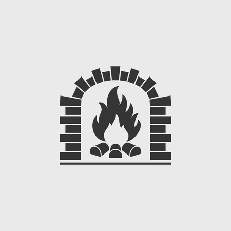 fire wood: Brick oven vector icon. Firewood oven black silhouette Illustration
