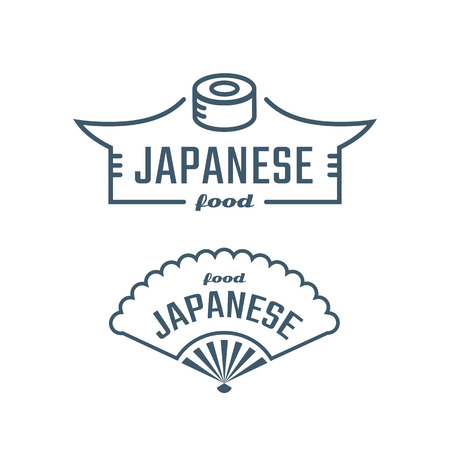 Templates Logo sushi or Japanese food. Vector design sushi emblem and folding fan Vector