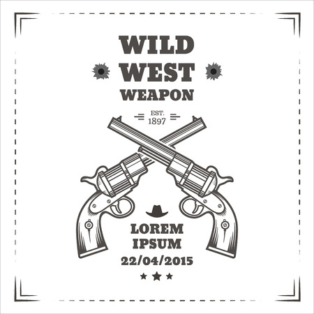 gun shot: Wild west vector poster with engraving western revolvers. Vintage style. Illustration