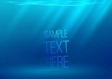 fondali marini: Sfondo subacqueo con i raggi del sole. Illustrazione vettoriale. Spazio per il testo o un oggetto.