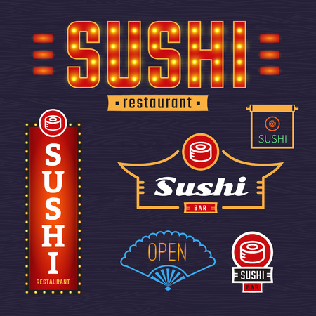 outdoor dining: Luminous signs sushi. Vector, badges, labels. Outdoor advertising