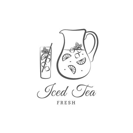 Iced tea vector  or sign. Vector illustration jug, glass, lemon. Design elements
