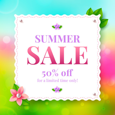 Colorful banner summer sale with flower. Vector illustration.