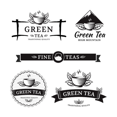 グリーン ティー。ベクトルは、喫茶店やカフェのラベルを設定します。
