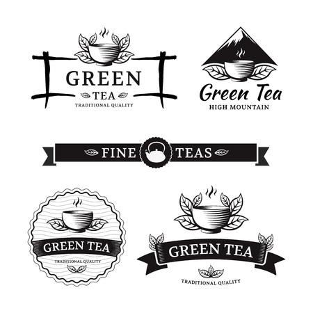 Groene thee. Vector set label voor thee winkel of café. Stock Illustratie
